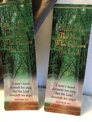 Set of 2 Matching PROVERBS 16:9 Bookmark Page Marker Bible Verse Christian