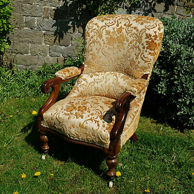 Victorian Upholstered Mahogany Open Armchair / Library Chair C1870 (Antique)