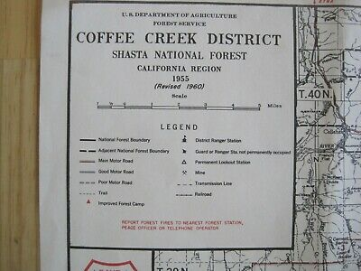 Original Forest Service Topo MapCoffee Creek District 1955 Revised 1960
