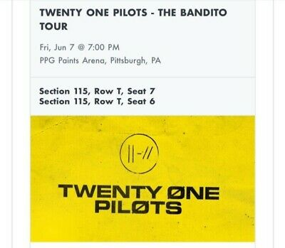 2 tickets Twenty One Pilots: Pittsburgh PPG Paints Arena June 7th, 2019