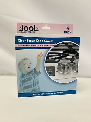 Clear Stove Knob Covers (5 Pack) Child Safety Guards Baby Proof by Jool Baby