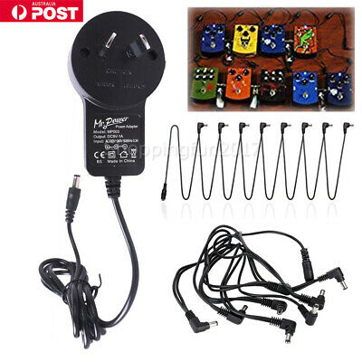 Guitars Pedal Power Supply Adapter AU Plug 9V DC 1A & 8 Way Splitter Cable Cords