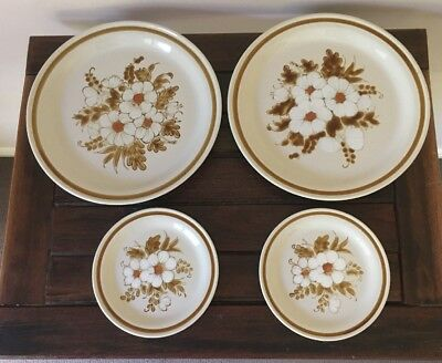 """Stoneware Dinner Plates X2 & Side Plates X 2 Mountain Wood """"Dried Flowers"""" Japan"""