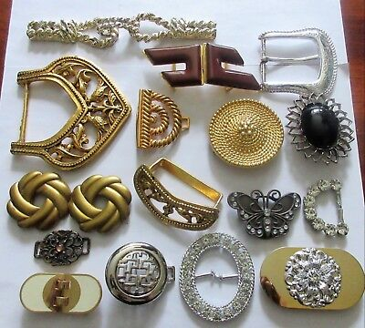 Lot of Vintage & Recent Belt Buckles ~ All Metal ~ Rhinestones ~ Enamel