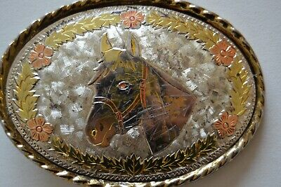 "Unisex / Women /Men Vintage USA Brass Horse Head Western Cowboy 1"" Belt Buckle"