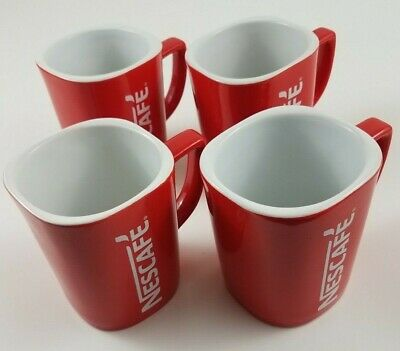 Lot of 4 Nescafe Coffee Red Cup Mugs 12oz 505-0244 Microwave Dishwasher Safe