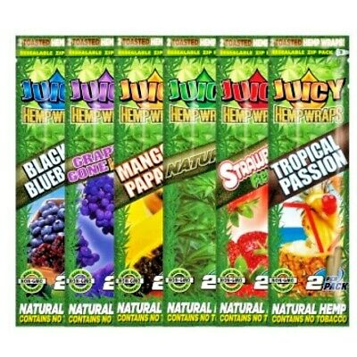 Juicy Jay Hemp Blunts - Ten Pack Deal - 5 x Single Packs Blunt Wraps 2 Per Pack