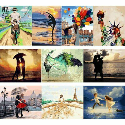 AU Frameless Paint by Numbers Kits DIY Canvas Oil Painting for Adults Kids