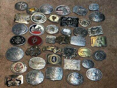 Lot of 40 Vintage and Modern Belt Buckles