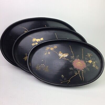 Vtg 3 Set Nesting Black Lacquer Painted Oval Wood Tray Blossom Bird Pagoda Gold