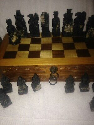 Asian Vintage Hand Carved chinese Chess Set W Wood Folding Board