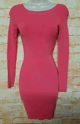 bebe Women Size XS Coral Pink Bodycon Party Stretchy Dress Long Sleeve. 71