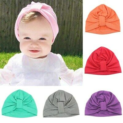 Summer Kids Baby Girls Turban Bow Knot Head Wrap Bunny Rabbit Ear Hat Cotton wew