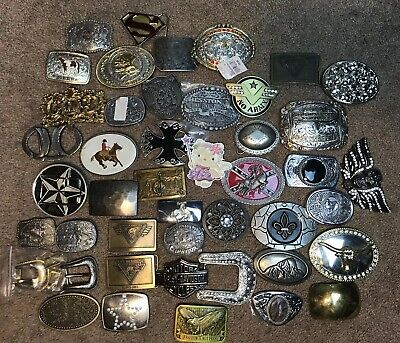 Lot of 45 Vintage and Modern Belt Buckles
