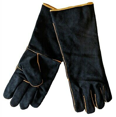Craftright WELDING GLOVES 1Pair 40cm Long Soft Split Cow Leather, Black/Gold