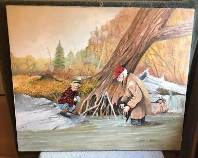 """vintage original """"Old Trapper, oil on canvas painting signed by John E. Mitchell"""