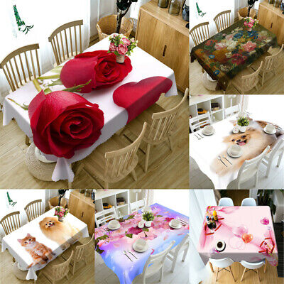 3D Cute Cat  dog Tablecloth Table Cover Cloth Birthday Party Event Dining decor
