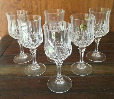 6 Crystal Longchamp Wine Glasses CRISTAL d'ARQUES 16.5cm High Excellent Conditin