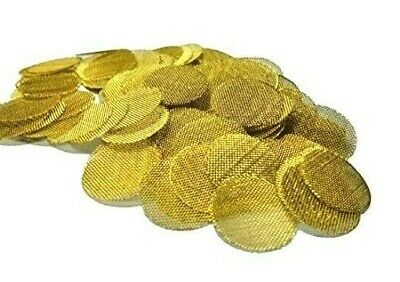 100 Brass Pipe Screens -  3/4 inch Smoking Tobacco Screens made in the USA