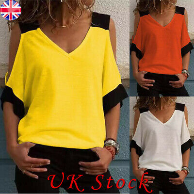 Plus Size Womens Ladies Summer Cold Shoulder Tee Top Short Sleeve Blouse T-Shirt