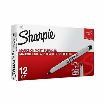 New Sharpie Permanent Markers ULTRA FINE Point Pack of 12 BLACK Ink  - 37001
