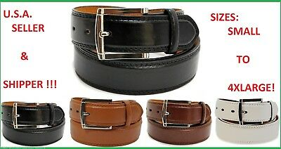 "New Mens Leather 1 1/2"" Inch Dress Belt Black Brown White Size S, M, Large Xl"