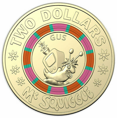 """2019 Mr Squiggle & Friends """"GUS"""" $2 Two Dollar Coin (UNC) Great Gift"""