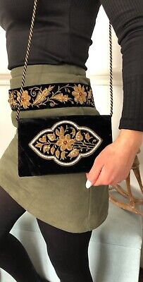 Beautiful Black Suede Vintage Hand Bag And Belt Embroidered Thread And Bead Work