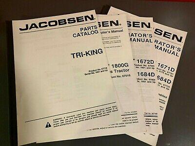 JACOBSEN TRI-KING MANUAL Lot: Parts Operator's Distributor's 1800G on