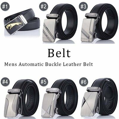 Fashion Mens Genuine Leather Belt Automatic Buckle Ratchet Waistband Business US