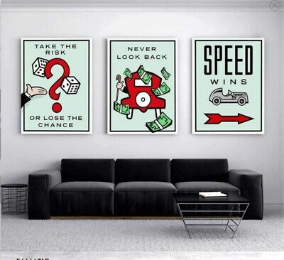 Alec Monopoly 3 Pieces Oil Painting HD Print On Canvas Deco Wall 16x24x3inch #1