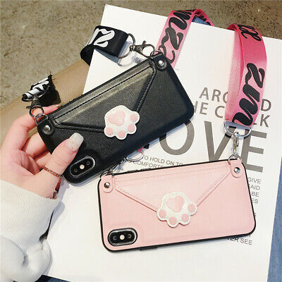 For iPhone XS Max XR X 8 7 6s Plus Cat Paw Card Holder Wallet Strap Case Cover