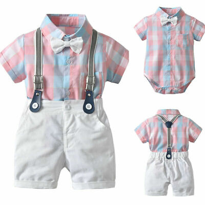 2PCS Newborn Baby Boy Gentleman Outfits Clothes Shirt Tops Bib Pants Jumpsuit