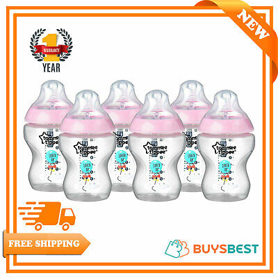 6 X Tommee Tippee Feeding Bottles 260ml Closer to Nature Pink Decorated 9oz 0m+