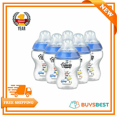 6 X Tommee Tippee Feeding Baby Bottles 260ml Closer to Nature Decorated Blue 9oz