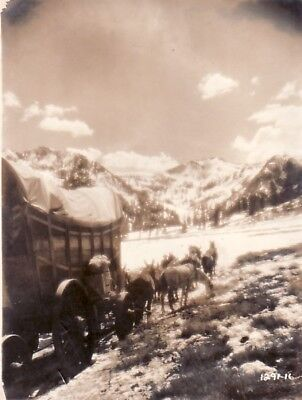 Horse Wagon Snow Mountain Landscape Montagne Hiver chevaux old Photo 1920's