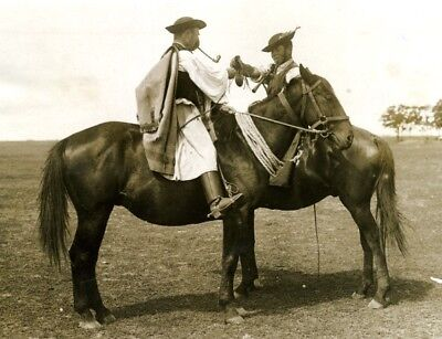 Hungarian Cowboys Smoking Pipe Horse cavaliers Hongrois chevaux old Photo 1920's