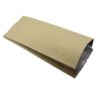 Open Top Heat Seal Kraft Paper & Mylar Bag Vacuum Food Storage Side Gusset Pouch