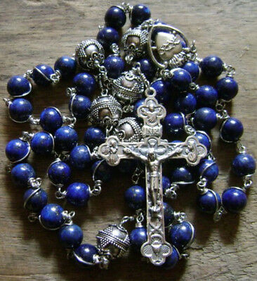 catholic Sterling 925 Silver Wire Wrap RLAPIS LAZULI ROSARY BEAD NECKLACE CROSS