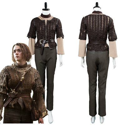 Game of Thrones Arya Stark Outfit Coat Uniform Suit Dress Cosplay Costume
