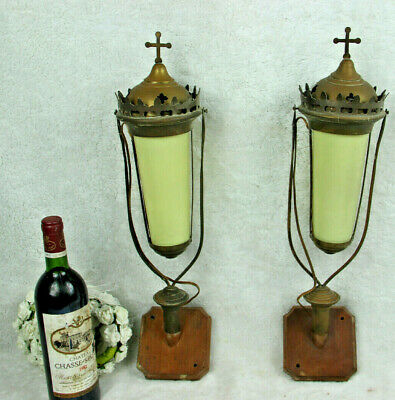 Antique French pair religious procession wall lights sconces glas wood metal