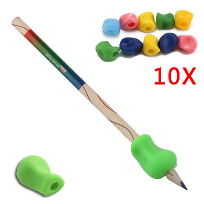 10x Soft Childrens Pen Pencil Grip Corrector- Kids Silicone Hand Writing Gripper