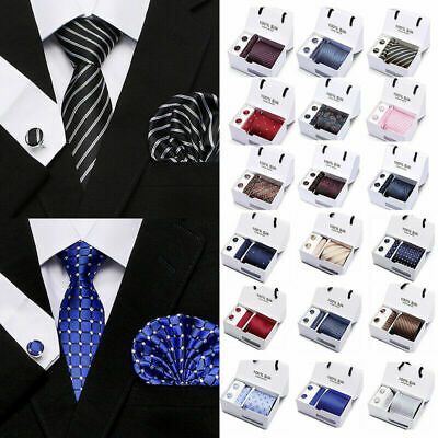 Mens Neck Tie Pocket Square Cuff links Set Gifts Office Necktie Wedding Suit