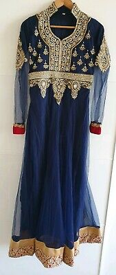 ad34b9f0d7 DESIGNER NAVY BLUE with silver&Gold Diamonte Wedding/EID maxi dress size M
