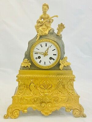 Antique 19th C French Figural Figurine Banjo Player Gilt Bronze Mantel Clock