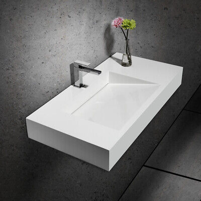 Glossy White Stone Resin Bathroom Ramped Sink Rectangle  Wall Mounted Sink&Drain