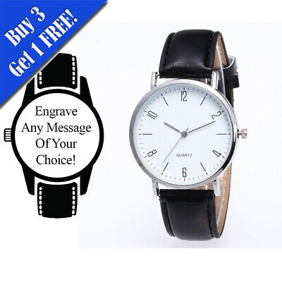 Personalised Engraved Watch, Leather Black Strap with White Face