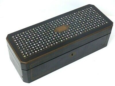 Antique French Napoleon Boulle Inlaid Mother of Pearl Table Casket / Glove Box