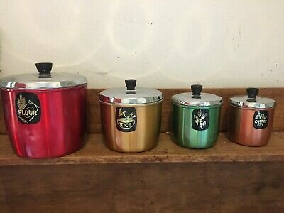 Set of 4 Vintage Raco coloured kitchen Canisters