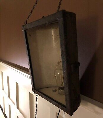 Antique Industrial Light Lighting Darkroom Hanging Lamp Works No Glass Steampunk